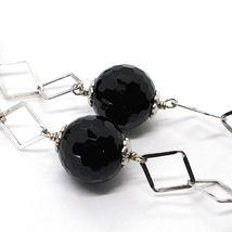925 Silber Halskette, Onyx Schwarz Facettiert, Länge 45 cm, Kette Rhomben image 3