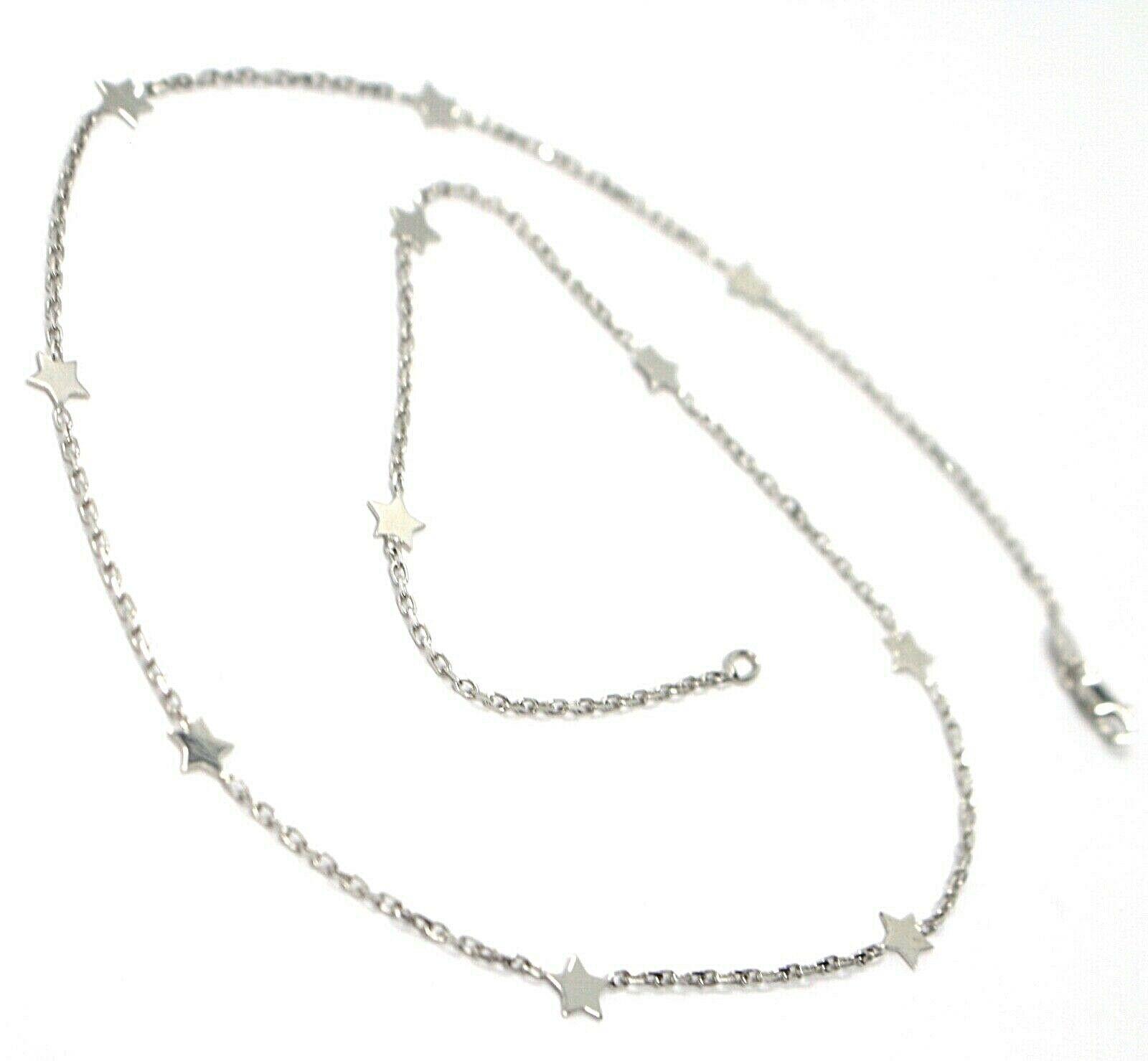 Collier or Blanc 750 18K, Chaîne Rolo Vis- , Étoiles Plates Alternate