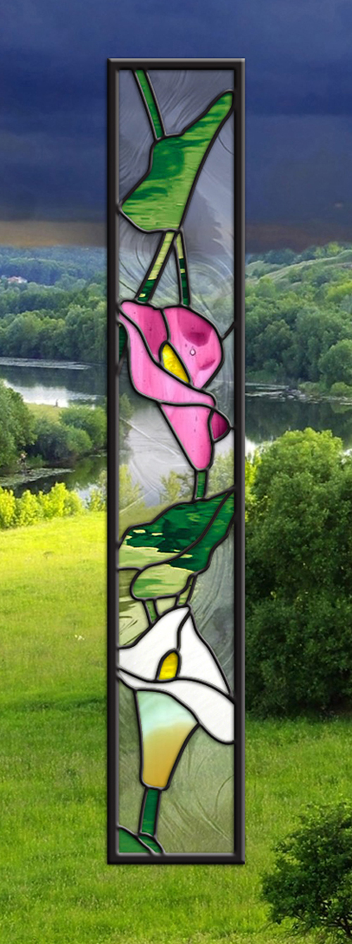 Stained Glass Window Panel Lilies SideLight