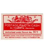 (I.B) Canada Postal : Postage Paid in Cash Label - $400,33 MXN