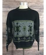 Van Cort Mens Sweater Size Large Black White Green Crew Neck VTG 80s - $19.34