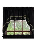 Olivia's Heartland primitive country BURLAP Black STARS window SWAG curt... - $46.95