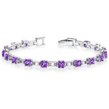 Women's Sterling Silver Princess Cut Amethyst Tennis Bracelet - £148.87 GBP