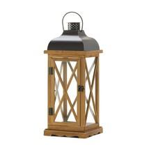 Candle Lanterns, Hayloft Large Wooden Glass Indoor Candle Lanterns Decor... - £39.36 GBP