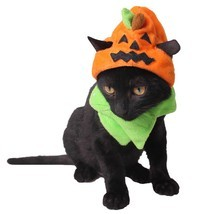 Cute Pumpkin Pet Costume Dress Up Cap Puppy Dogs Cats Halloween Party De... - ₹689.53 INR