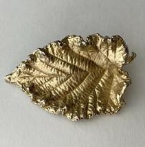 Napier Satin Finish Brushed Gold Tone Leaf Brooch Pin Vintage Signed Fal... - $11.84