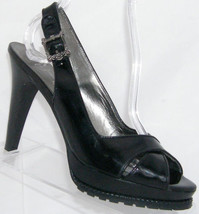 Jessica Simpson 'Lotus' black patent leather slingback platform heel 8B ... - $31.47
