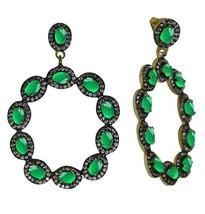 Green Onyx White Topaz 925 Silver Halo Cluster Wedding Party Wear Earring - $75.84