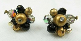 Vintage Vendome Gold Tone Faux Pearls Glass Bead Clip Back Earrings - $35.00