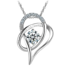 """""""the journey is the reward"""" Charm Heart Pendant Necklace Sterling Silver... - $56.65"""