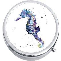 Watercolor Seahorse Medicine Vitamin Compact Pill Box - $9.78