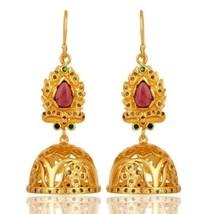 4.98 Ct Pave Diamond Emerald Pink Tourmaline Gemstone 925 Silver Dangle ... - $263.34