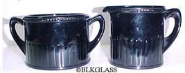 Black Glass Creamer Sugar Beaded Top Finger Ribs Country - $24.99