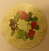 1 Natural Bamboo Heat Pad, Kitchen Decor, FRUITS # 2, round - $8.90