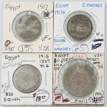Égyptien Pièce de Monnaie Égypte 1911 10 Qirsh 1917 5 Piastres 5 10 Mill... - $88.35