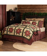 Poinsettia Quilts Shams Throws Pillows Christmas Flower Bedding Collection  - $26.95+