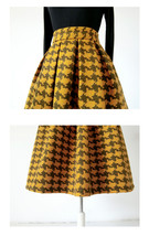 Winter Yellow Houndstooth Skirt Women Houndstooth Midi Pleated Skirt Wool Plus image 6