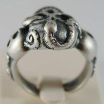 Silver Ring 925 Burnished Shaped Skull with Snake Size Adjustable image 3