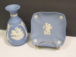 "Wedgwood Blue Jasperware 5"" Vase and 4"" Pin Tray Dish England - $23.76"