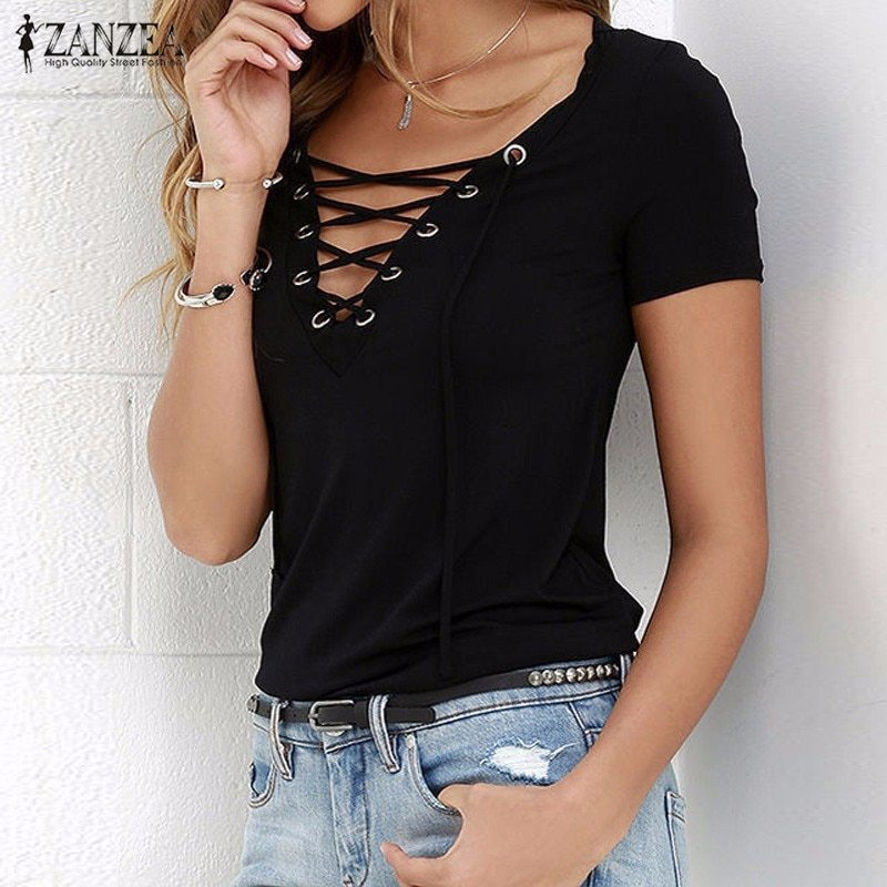 Anzea women blusas 2018 summer oversized sexy v neck blouses short sleeve casual hollow out lace