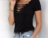 Usas 2018 summer oversized sexy v neck blouses short sleeve casual hollow out lace thumb155 crop