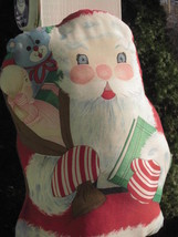 """HAND CRAFTED SANTA CLAUS CHRISTMAS PILLOW VINTAGE 19"""" x 10"""" SCREEN PRINT... - $9.49"""