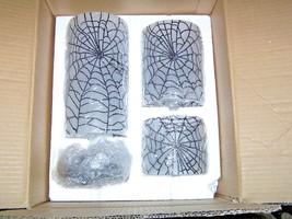 3 Large GRANDIN ROAD MARTHA STEWART Spider Web Glass Halloween Candle Ho... - $125.99