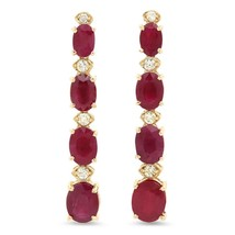 7.30ct Natural Red Ruby and Diamond 14K Solid Y... - $1,090.00