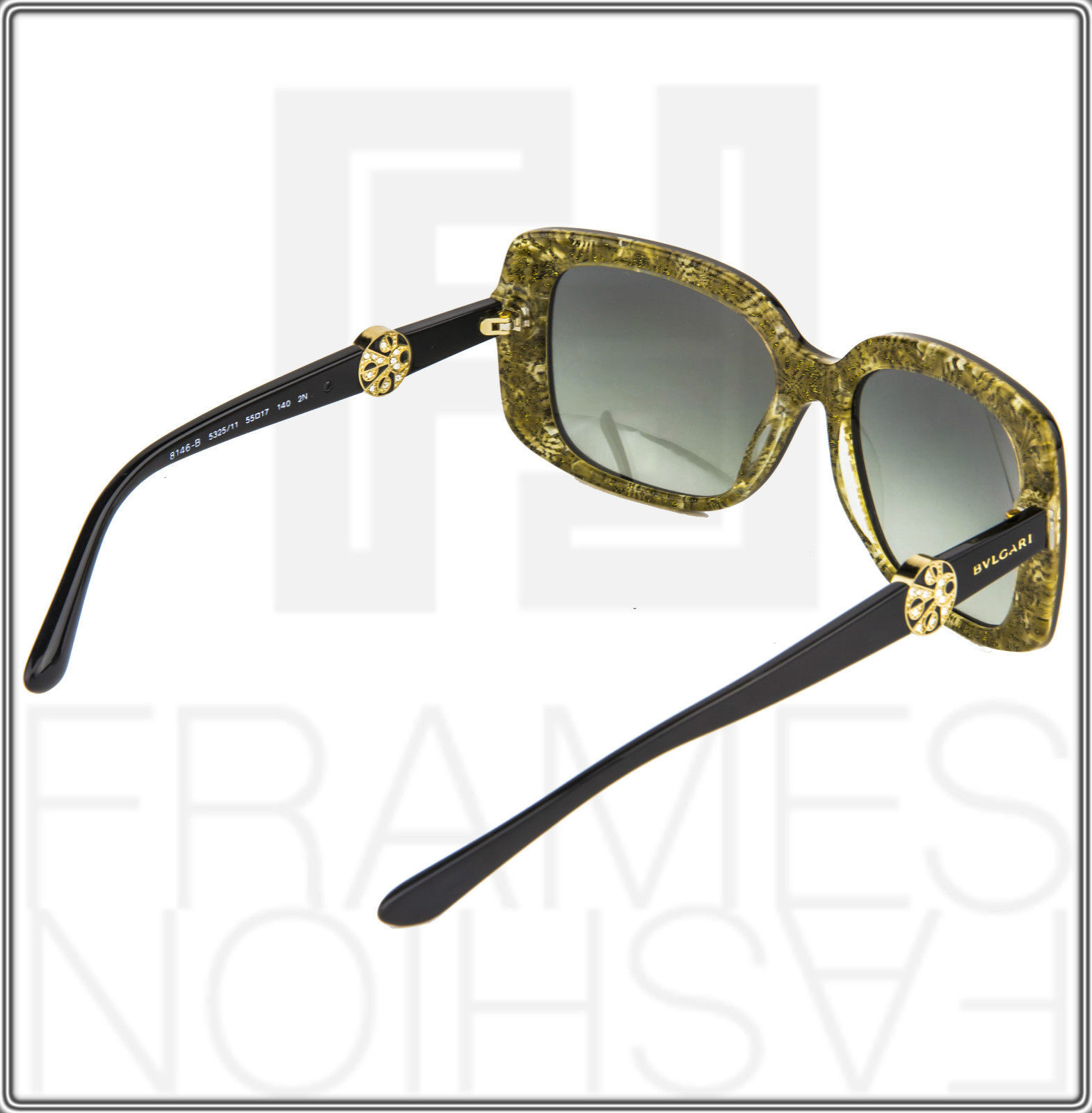 BVLGARI INTARSIO 8146B 5325/11 Black Gold Sunglasses 8146 Square Women Gradient image 5