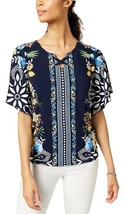 JM COLLECTION Floral Printed Flutter Sleeve Lace Up Keyhole Blouse NWT P/XL - $11.53