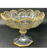 "Heisey PURITAN GOLD TRIM 9-1/4"" Compote Footed Bowl Colonial 19-2542 - $40.80"