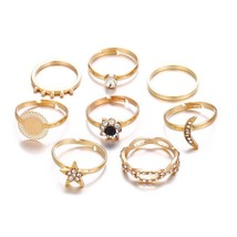 Gold Rings Set For Women Star Moon Flower Crystal Finger  Ring 2020 Fem... - €7,08 EUR