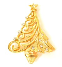 JJ Vintage Signed Gold Plated Christmas Tree Rhinestone Holiday Pin Broo... - $19.79