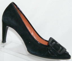 Via Spiga 'Haddie' black suede pointed toe buckle slip on pump heels 6M ... - $32.96