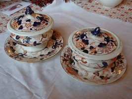 2 Antique Imari Ironstone Sauce Dishes w/ Lids Underplates Unmarked  - $85.14