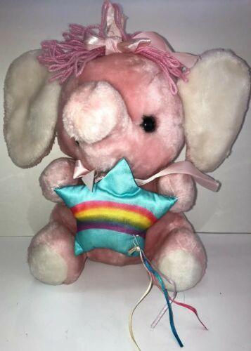 Vintage 1983 Commonwealth Rainbow & Ribbons Plush Pink Elephant Rare Plush 53