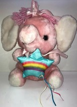 Vintage 1983 Commonwealth Rainbow & Ribbons Plush Pink Elephant Rare Plu... - $46.74