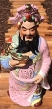 "18"" Chinese Porcelain God Immortal longevity Statue Vintage Old Pink - $47.49"