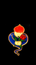 genie with rose Metal Enamel Badge Lapel /tie Pin Badge 3d effect with clip