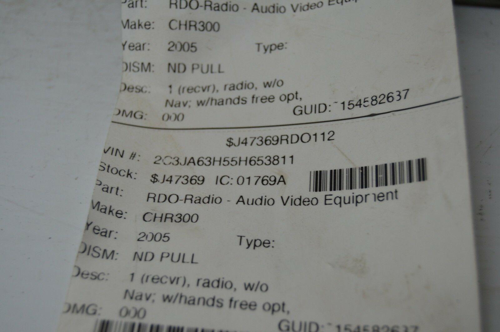 2004-2010 CHRYSLER 300 RADIO CD PLAYER OEM RADIO P05064071AG OEM G53#023 image 6