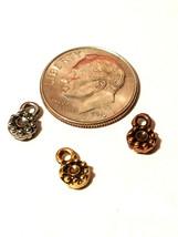 3pcs. Tiny Flower Drop Fine Pewter Charm - 4.5x7.5x2mm image 2