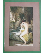NUDE Young Maiden Nymph at Fountain - COLOR Antique Print - $17.55