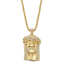 "1.13 TCW Cubic Zirconia 14k Gold-Plated Jesus Pendant Necklace 20"" - $69.99"