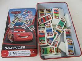 Disney Pixar Cars 2 28 Plastic Dominoes Game In Tin Case Kids Cardinal L183 - $8.77