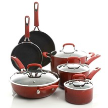 Gibson Kenmore Andover 10 Piece Aluminum Cookware Set, Red - $149.99
