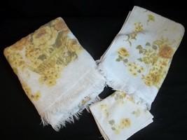 Mid Century Towel Set Wash Cloth Bath Hand Yellow Floral Fieldcrest 100%... - $22.72
