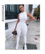 BOOFEENAA Sporty Jumpsuit Women Summer 2020 White Black Sleeveless Bodyc... - $31.75