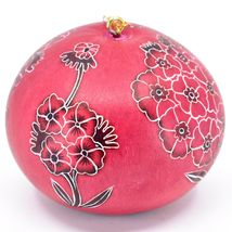Handcrafted Carved Gourd Art Red Primose Flower Floral Ornament Made in Peru image 4