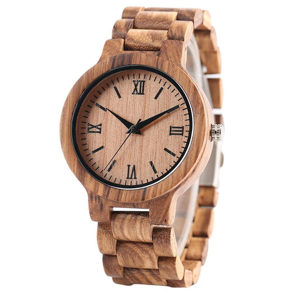 Wooden Watch Nature Full Wood Watch Bamboo Quartz Watches Handmade Clock Bamboo