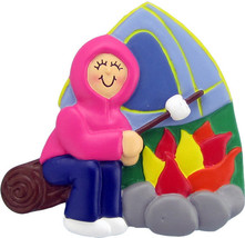 CAMPING CAMPER FEMALE GIRL CHRISTMAS TREE ORNAMENT PRESENT GIFT CAMPFIRE... - $11.73